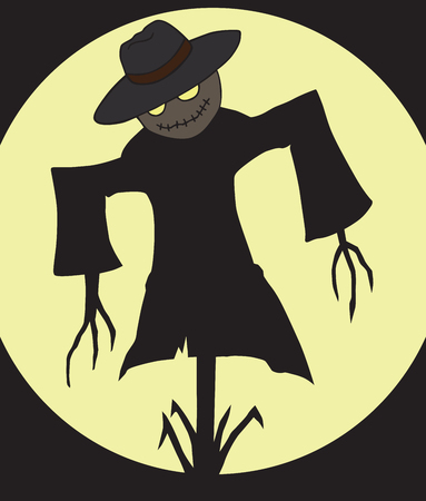 A sinister scarecrow with glowing eyes is hanging in the dark