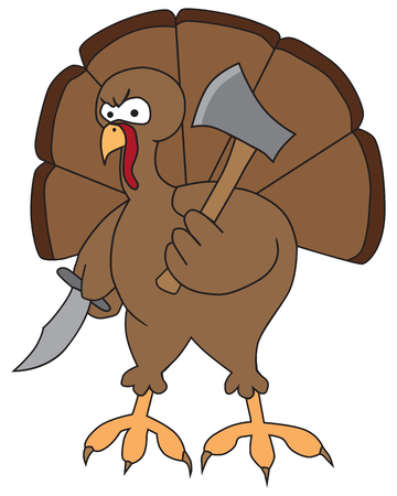 An angry cartoon turkey is holding a knife and a hatchet