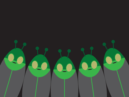 A group of five space aliens is staring toward the viewer