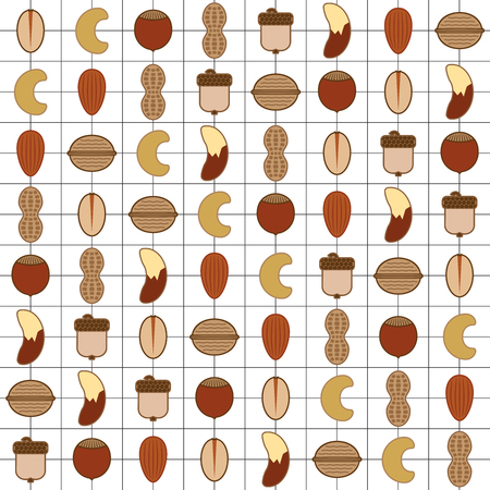 8 rows of various types of nuts against a background grid of lines Illustration