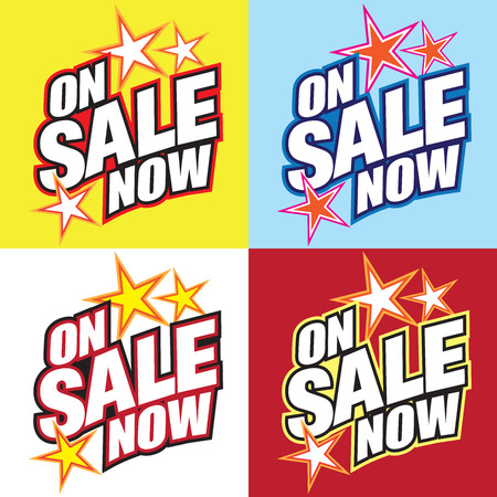 Bright, attention getting on sale now text in four different color schemes Illustration