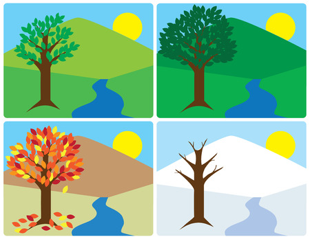 Flat vector illustration of a countryside undergoing the change of seasons  イラスト・ベクター素材