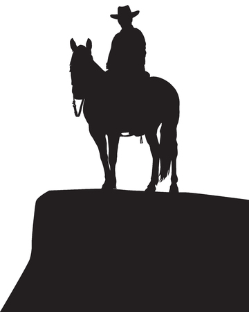 A cowboy is astride his horse on a rocky bluff in silhouette