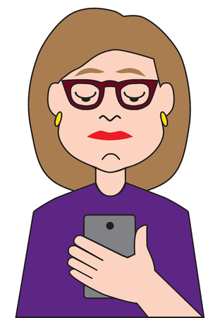 A no nonsense cartoon businesswoman is checking her cell phone