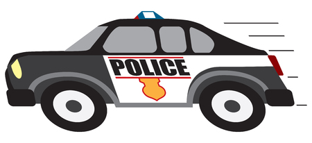 A cartoon police cruiser is in hot pursuit