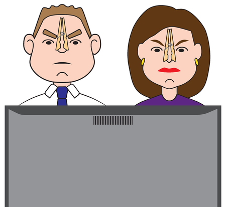 A cartoon man and woman are watching a TV show that they are unhappy with Illustration