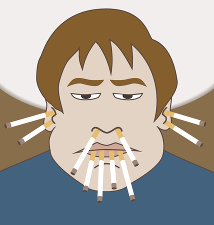 A cartoon man with a serious addiction is smoking several cigarettes at once Illustration