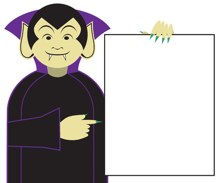 A cartoon vampire is excited about what is on the sign he is holding Illustration