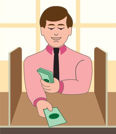 A cartoon male bank teller is distributing cash to a customer Çizim