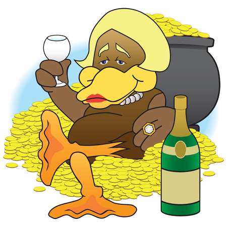 A cartoon female duck is sitting among her wealth enjoying a drink Çizim