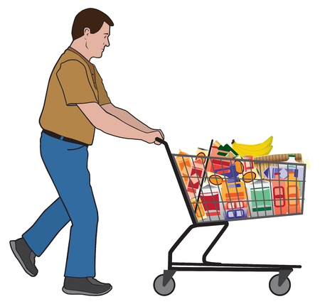 A man is pushing a shopping cart loaded with groceries