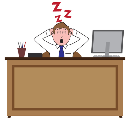 A businessman in his office is fast asleep at his desk Illustration