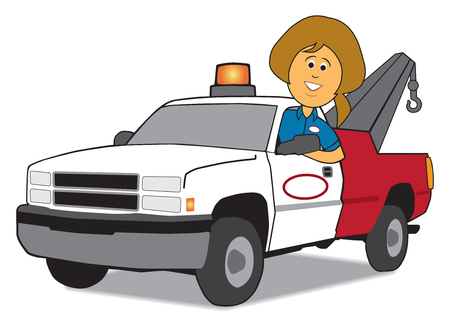 A cartoon service woman is arriving in her tow truck Çizim