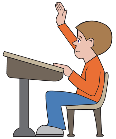 A young male student has raised his hand in order to ask the teacher a question