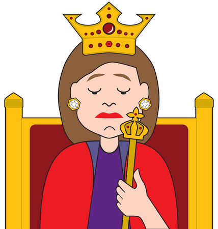 A queen is sitting on her throne holding her scepter and feeling depressed
