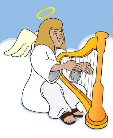 A female angel is sitting in the clouds playing a harp