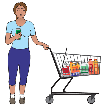 A young woman in a supermarket is checking the ingredients of a canned product