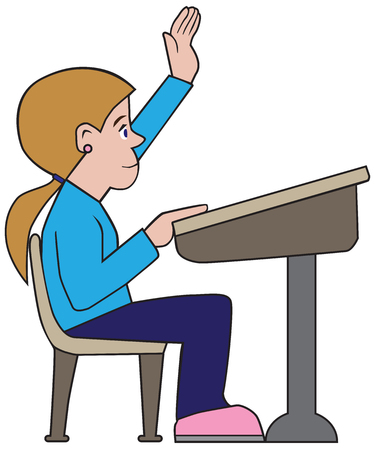 A young cartoon female student is raising her hand with a question