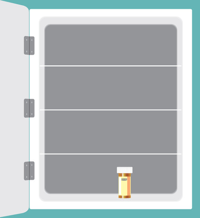 A household medicine cabinet is almost empty except for one bottle of pills
