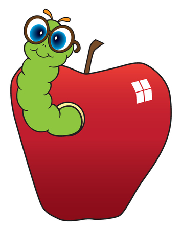 An intelligent looking worm is emerging from the side of a shiny apple