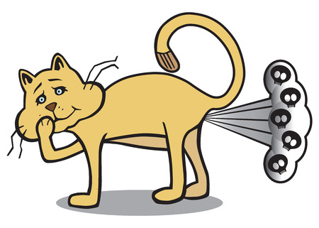An ordinary house cat is embarrassed by his deadly stinker Illustration