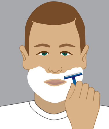 A man has lathered up his face and is about to shave Illustration