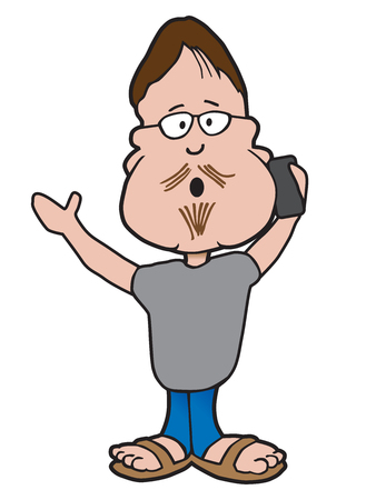 A cartoon hipster is gesturing while talking on his cell phone Illustration