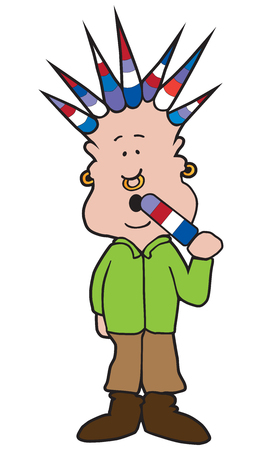 A man with colorfully spiked hair is enjoying a similar looking ice pop Illustration