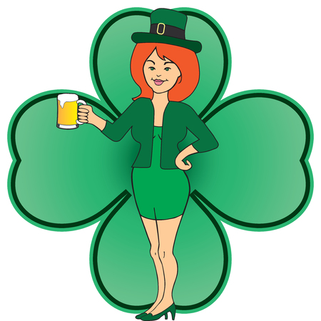 A lady in a leprechaun outfit is celebrating the holiday
