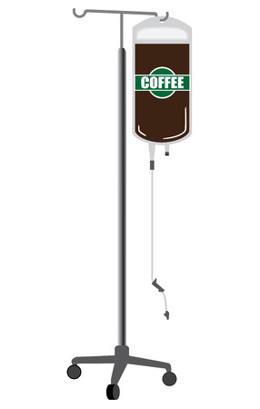 A metal IV rack holding a bag of fresh coffee ready to administer