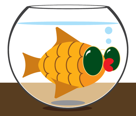 A famous goldfish with red lips is wearing sun glasses and hanging in her bowl