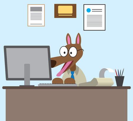 A cartoon dog accountant is excited about his work