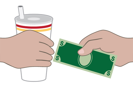 A customer at a fast food restaurant is paying for a drink