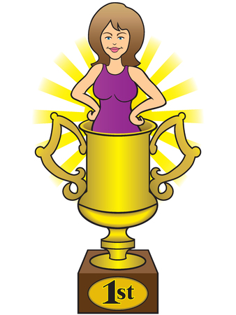 A pretty young wife is standing in a gold trophy cup