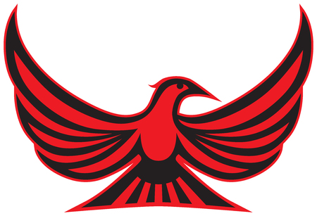 An exotic stylized red and black bird is spreading its wings Çizim