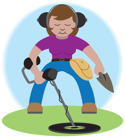 A cartoon woman is hunting for treasure with her metal detector