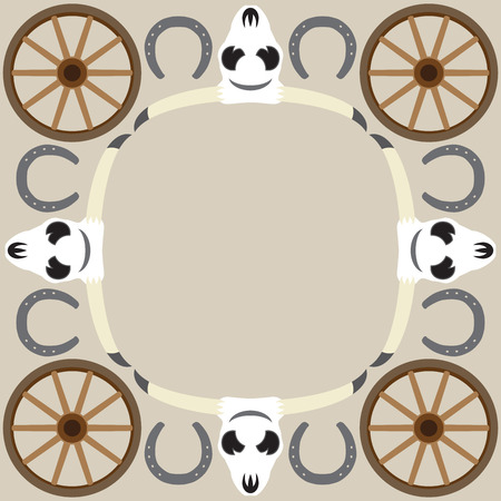 A flat vector western themed frame background with room for copy