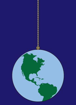 The planet earth is out in space dangling from a string Illustration