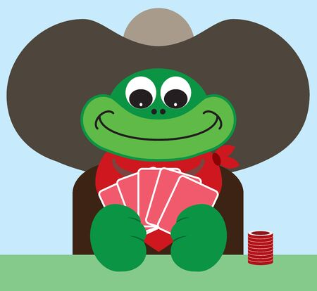 A cartoon cowboy frog is happy with the poker hand he is holding