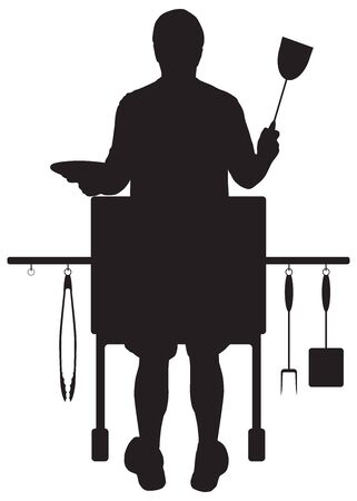 Silhouette view of a man cooking on his barbecue