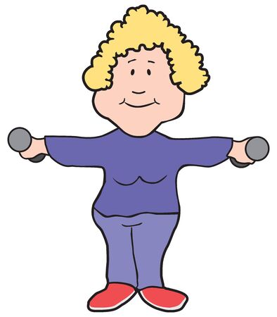 A cartoon woman in a purple sweatsuit is working out with dumbbells Illustration