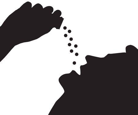 Silhouette view of a man overdosing on prescription drugs Illustration