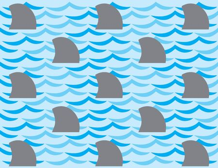 A group of stylized shark fins against a pattern of blue water waves