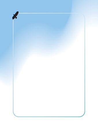 A bird is flying through a cloudy sky inside a frame
