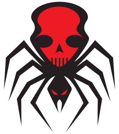 A scary flat vector spider with a human skull image on its back