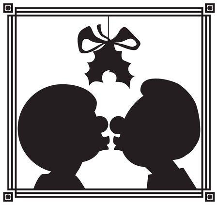 Una pareja de dibujos animados se besa bajo el muérdago en silueta
