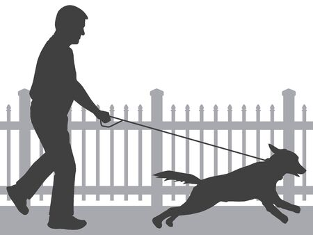 A man is taking his excited dog for a walk Illusztráció