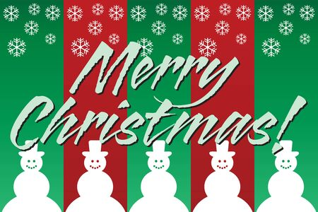 A Merry Christmas greeting against a green and red background with snowflakes and snowmen