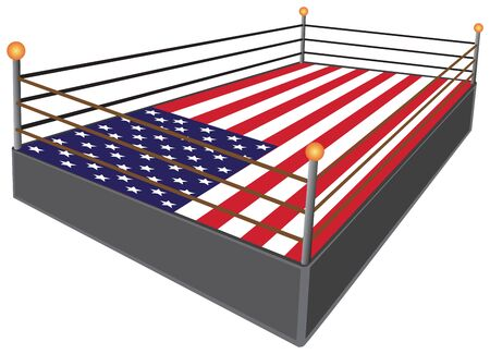 A professional wrestling ring has an American flag for a mat