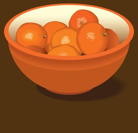 An orange bowl of oranges is resting on a brown counter top Ilustração